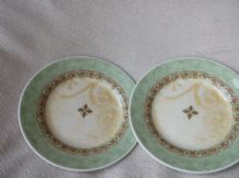"2 X VINTAGE 6.75"" SIDE PLATES CHURCHILL PORTS OF CALL GREEN RIM JEFF BANKS"